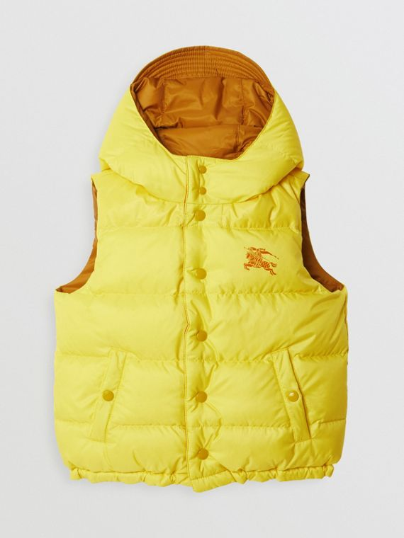 Reversible Showerproof Down-filled Hooded Gilet in Citrus Yellow