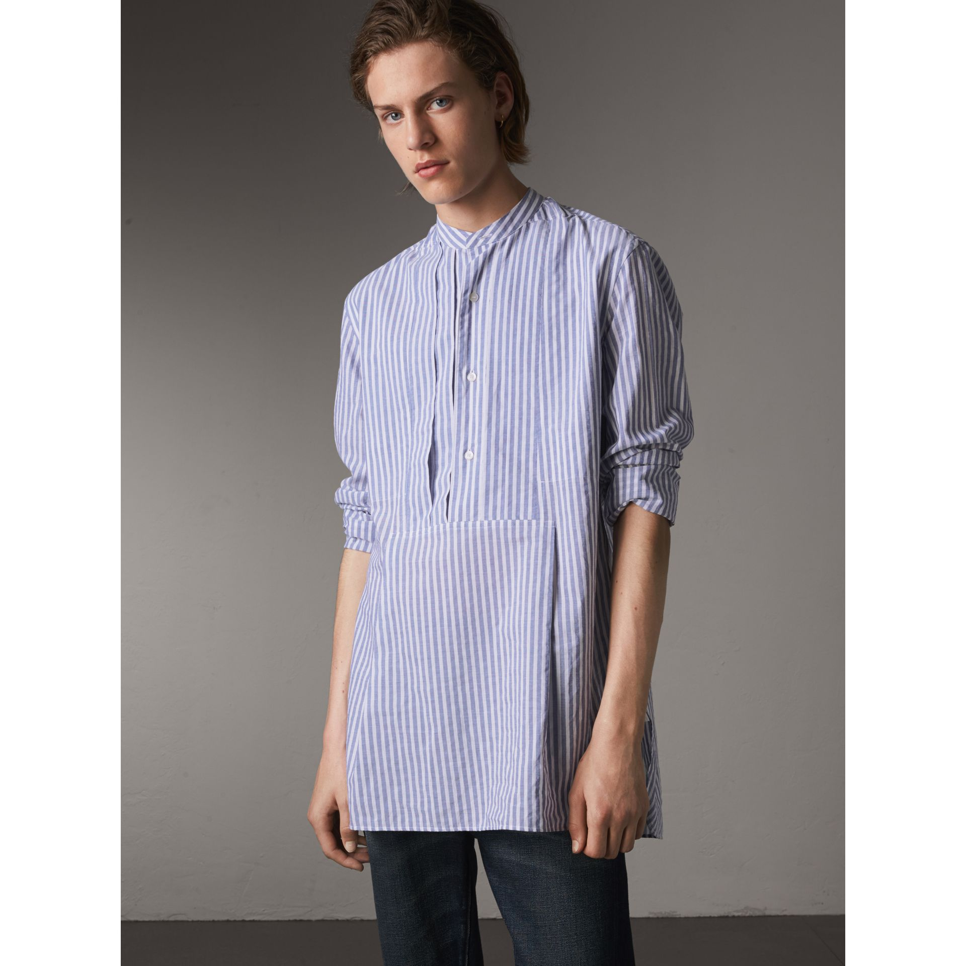 Unisex Pleated Bib Striped Cotton Shirt in Pale Blue/white - Men | Burberry - gallery image 1