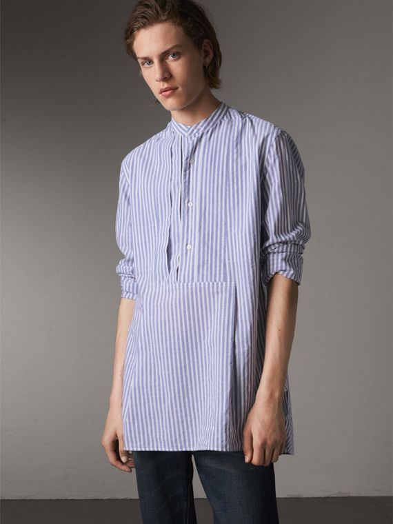 Unisex Pleated Bib Striped Cotton Shirt in Pale Blue/white