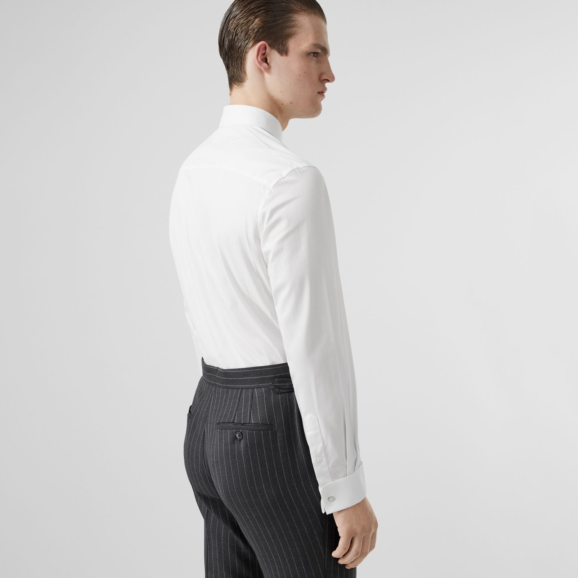 Classic Fit Monogram Motif Cotton Oxford Shirt in White - Men | Burberry Canada - gallery image 2