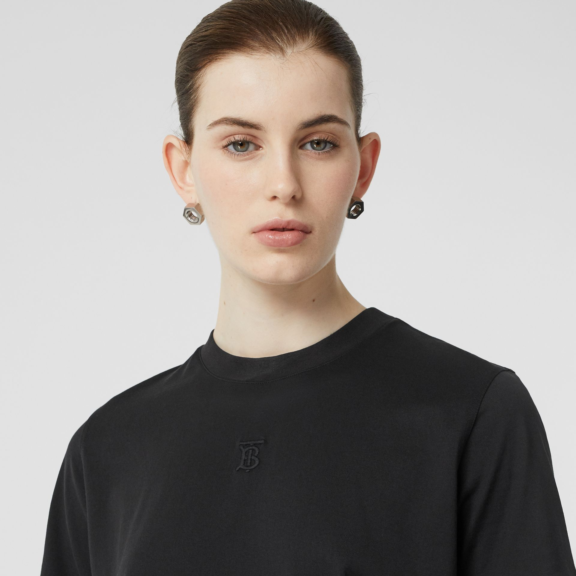 Monogram Motif Cotton T-shirt in Black - Women | Burberry - gallery image 1