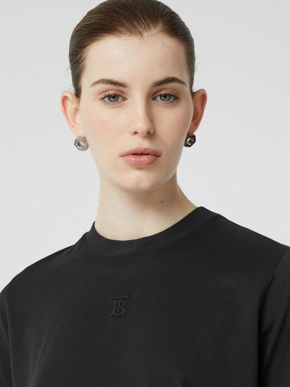 Monogram Motif Cotton T-shirt in Black - Women | Burberry United Kingdom - cell image 1