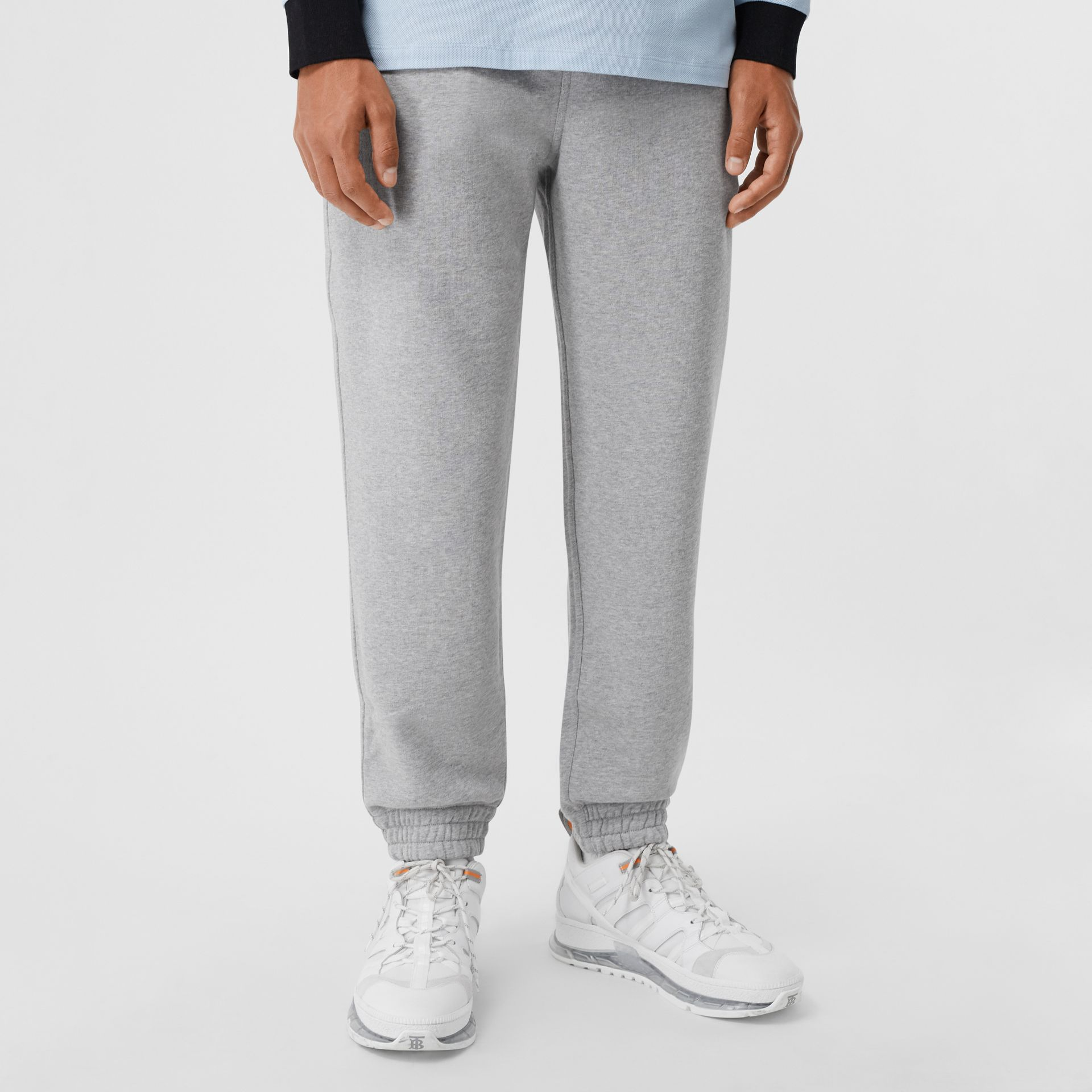 Logo Appliqué Cotton Trackpants in Pale Grey Melange - Men | Burberry - gallery image 4