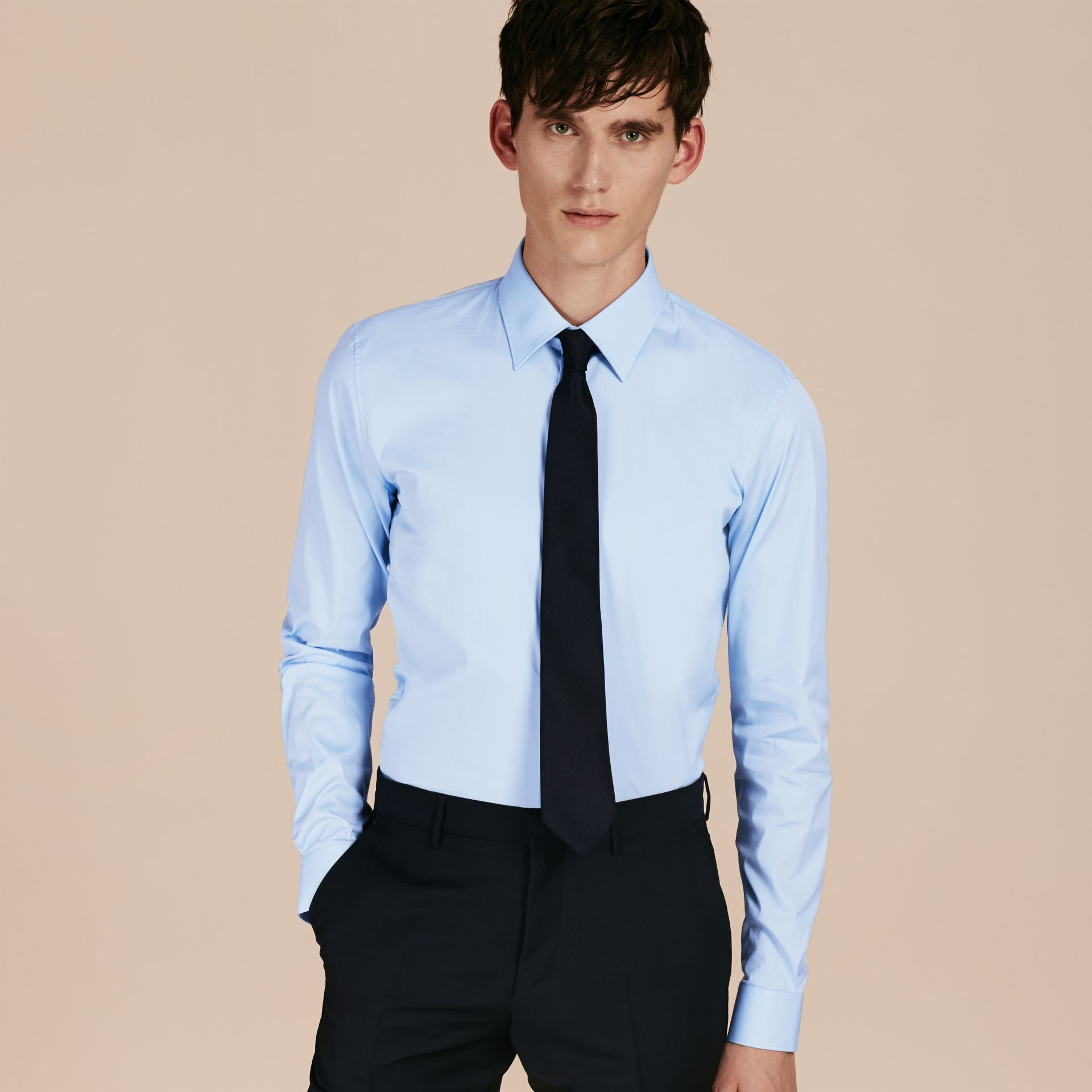 Slim Fit Stretch Cotton Shirt in City Blue - Men | Burberry Hong Kong - gallery image 6