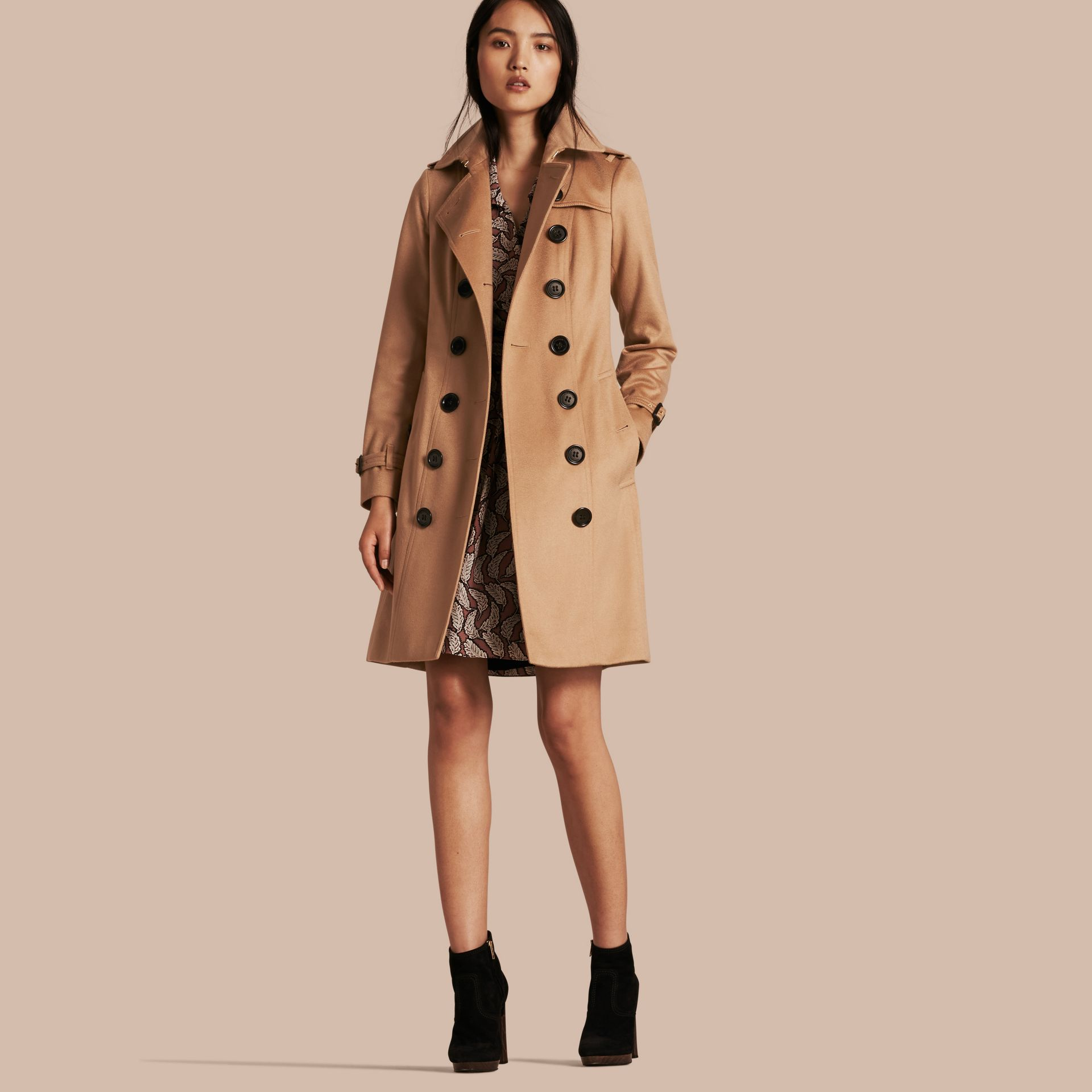 Sandringham Fit Cashmere Trench Coat Camel - gallery image 6