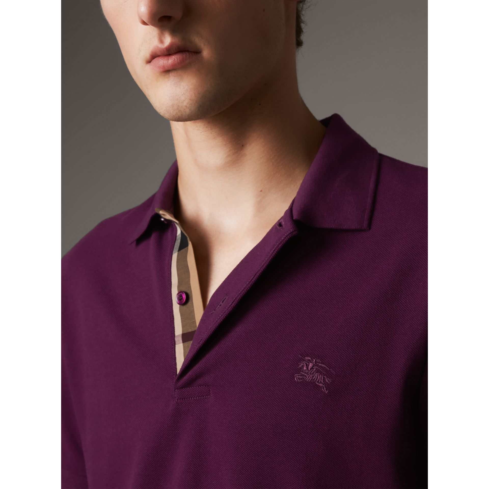 Check Placket Cotton Piqué Polo Shirt in Deep Purple Amethyst - Men | Burberry United Kingdom - gallery image 1