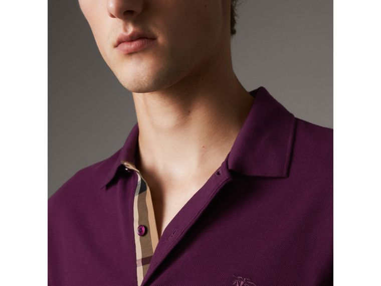Check Placket Cotton Piqué Polo Shirt in Deep Purple Amethyst - Men | Burberry - cell image 1