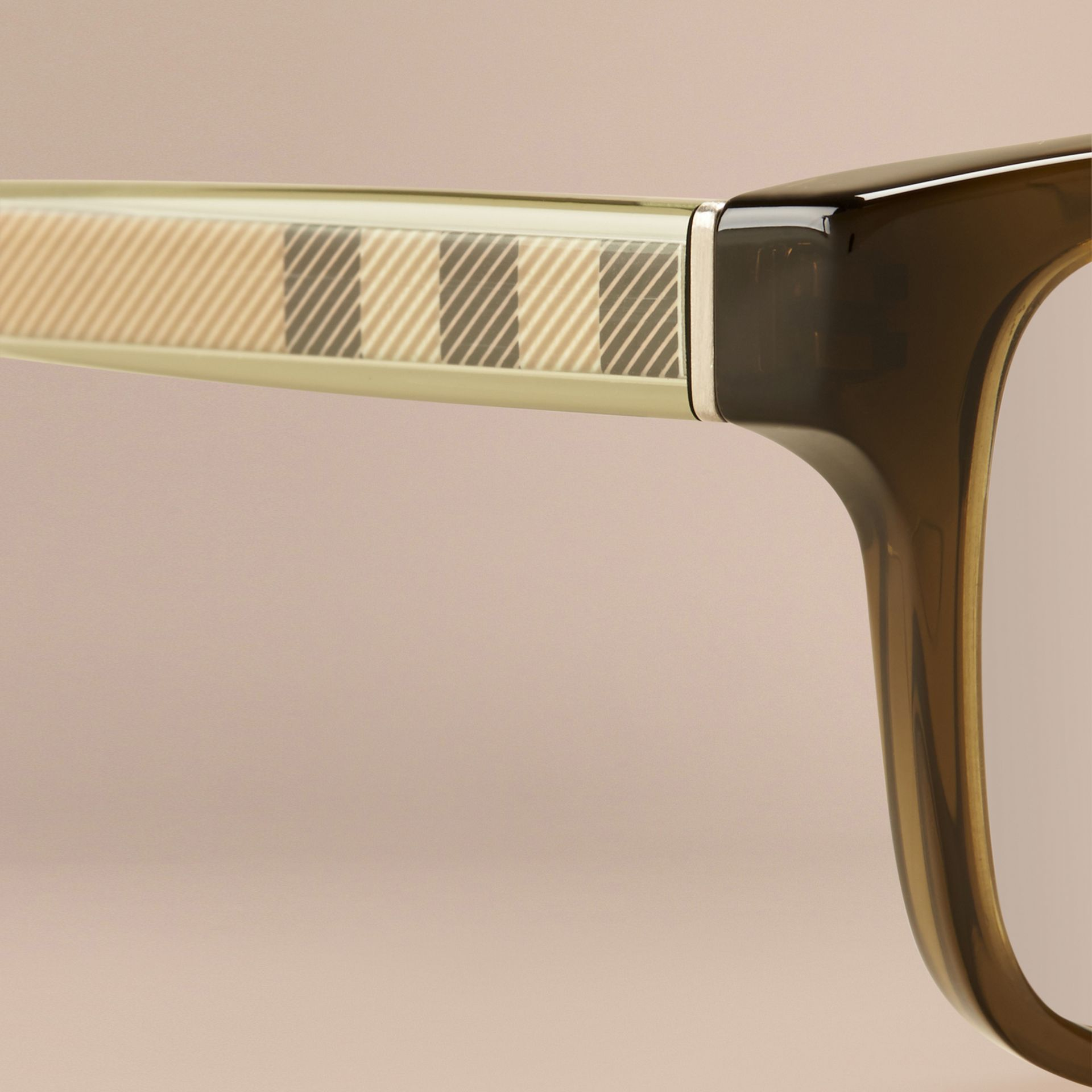 Olive Check Detail Rectangular Optical Frames Olive - gallery image 2