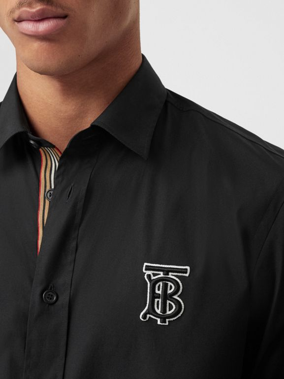 Monogram Motif Stretch Cotton Poplin Shirt in Black - Men | Burberry - cell image 1