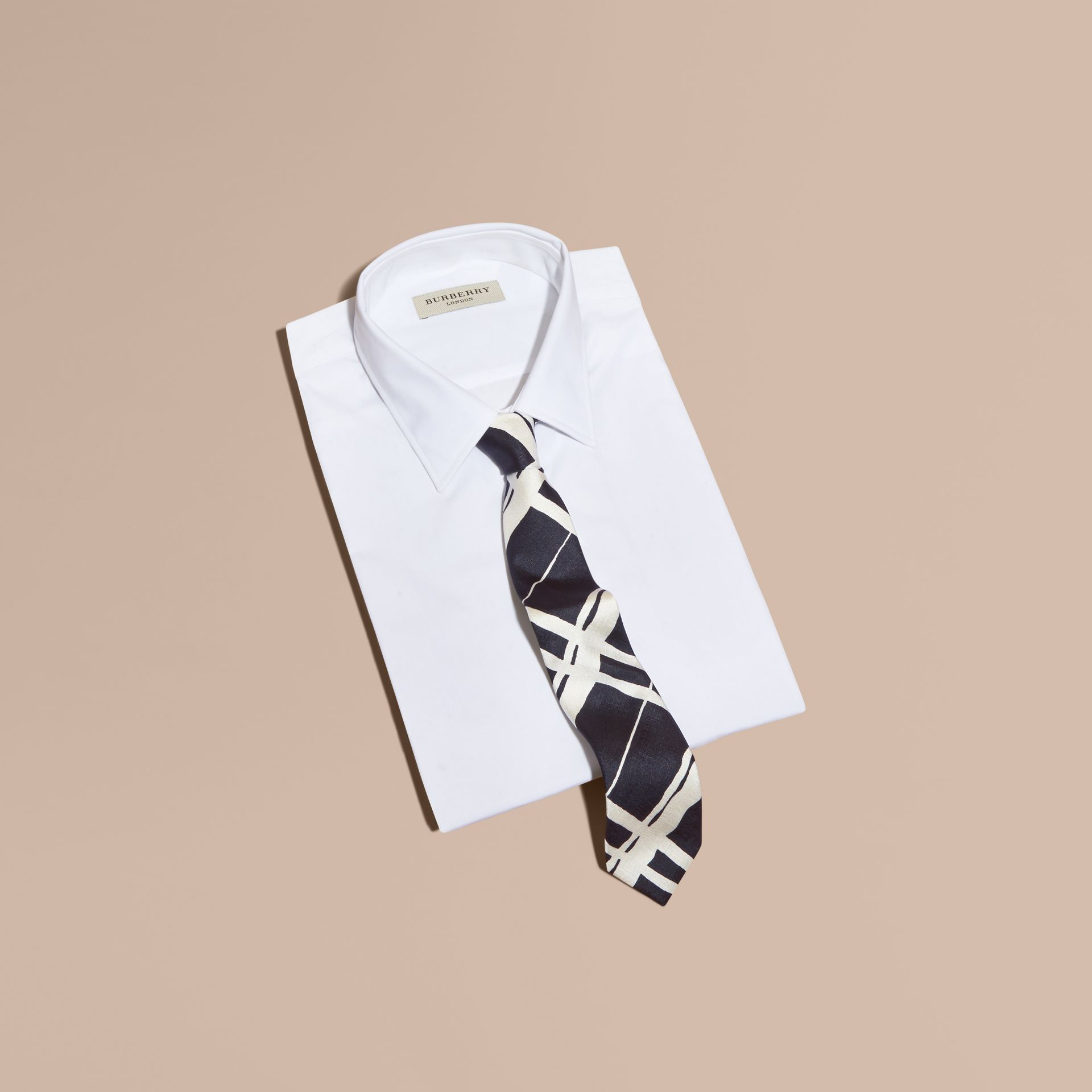 Slim Cut Painterly Check Print Silk Tie - gallery image 3