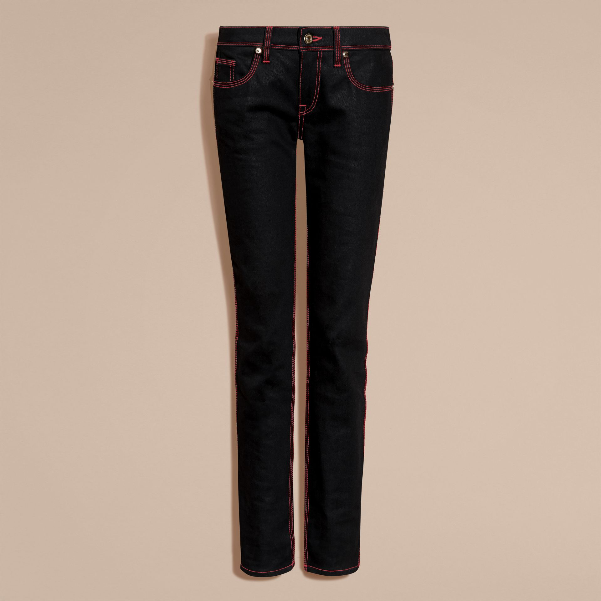 Black Skinny Fit Cropped Jeans with Topstitch Detail - gallery image 4