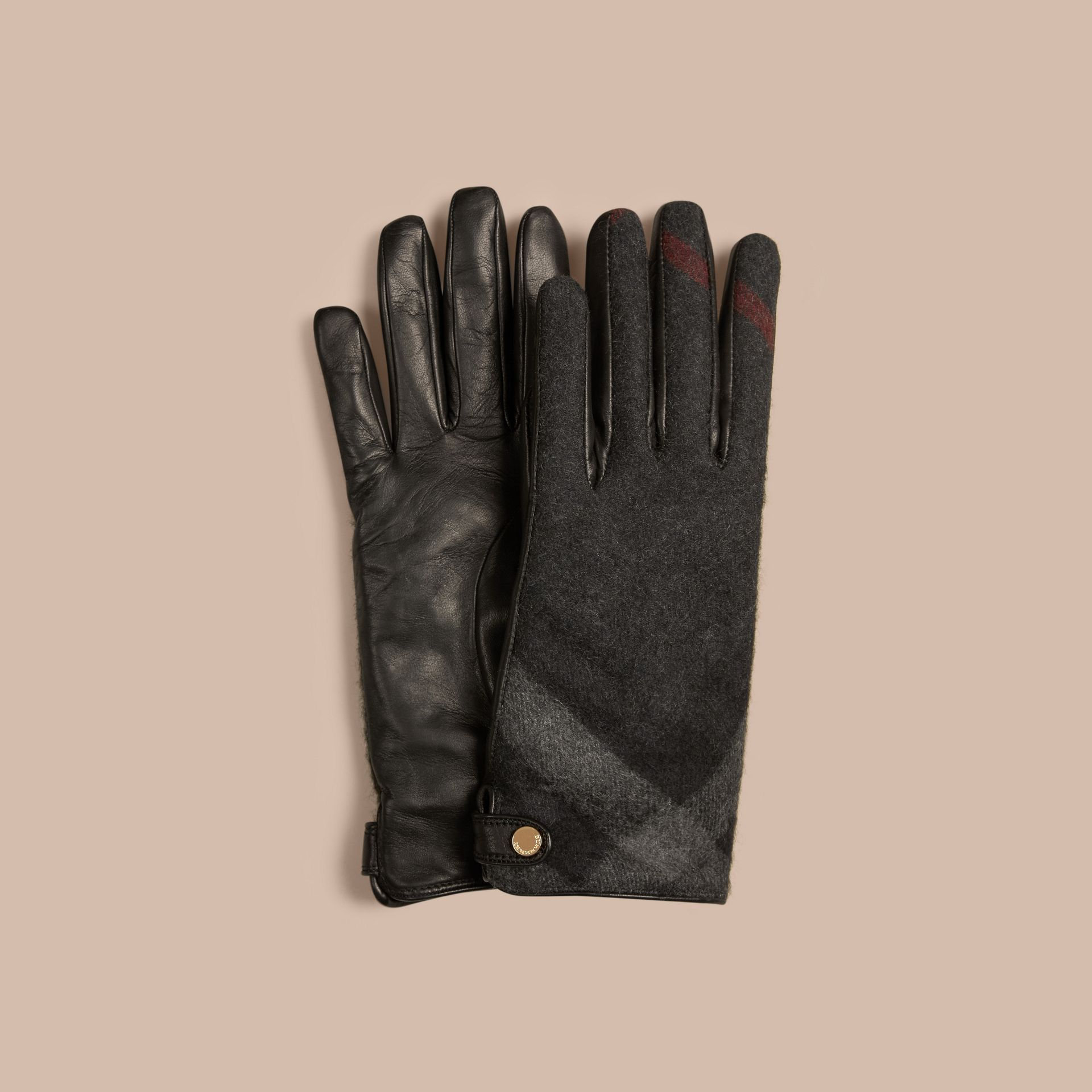 Leather and Check Cashmere Gloves in Charcoal - Women | Burberry - gallery image 1