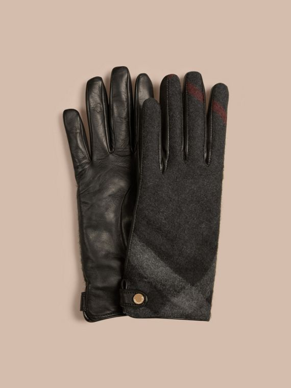 Leather and Check Cashmere Gloves in Charcoal