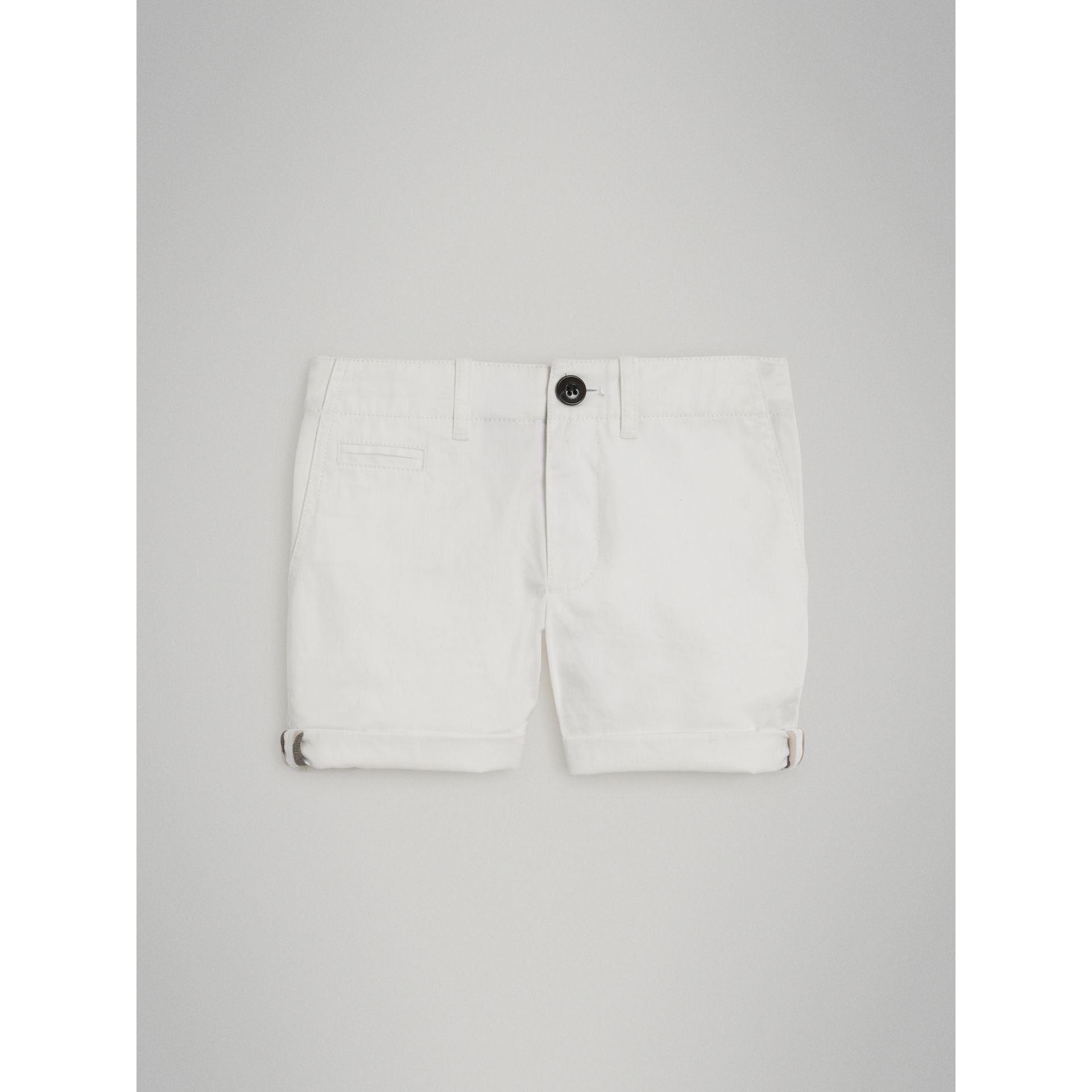 Cotton Twill Chino Shorts in White - Girl | Burberry - gallery image 2