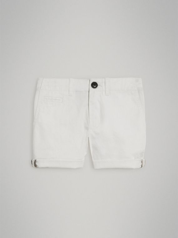 Cotton Twill Chino Shorts in White - Girl | Burberry - cell image 2