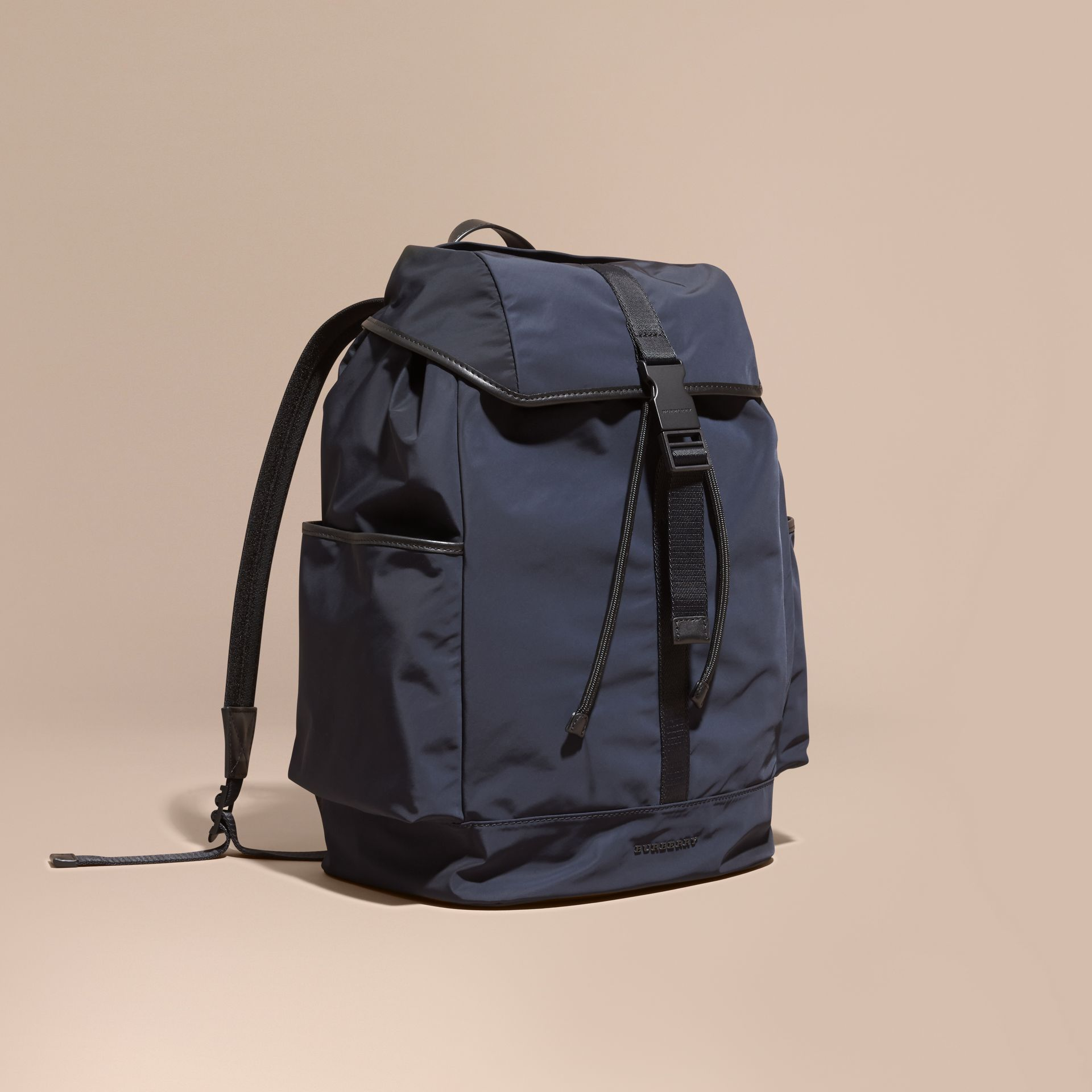 Leather Trim Lightweight Backpack Ink - gallery image 1