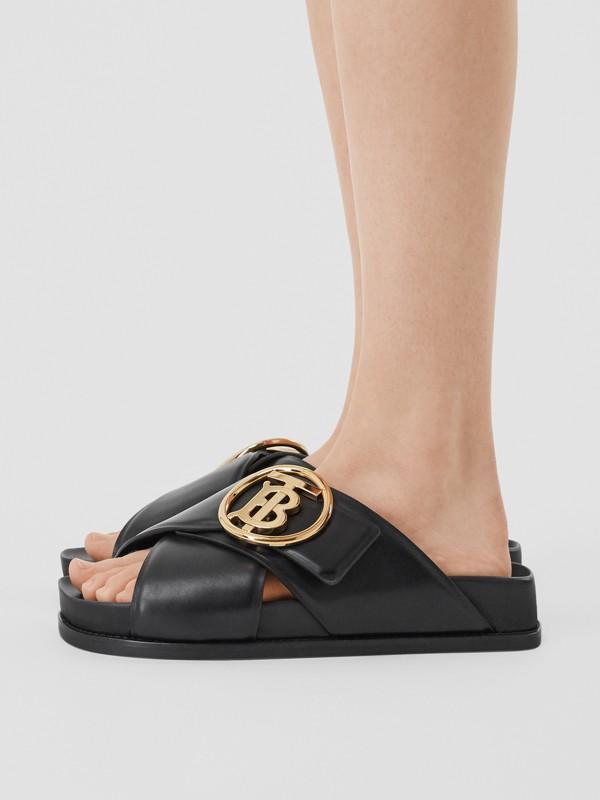 Monogram Motif Leather Slides in Black - Women | Burberry - cell image 2