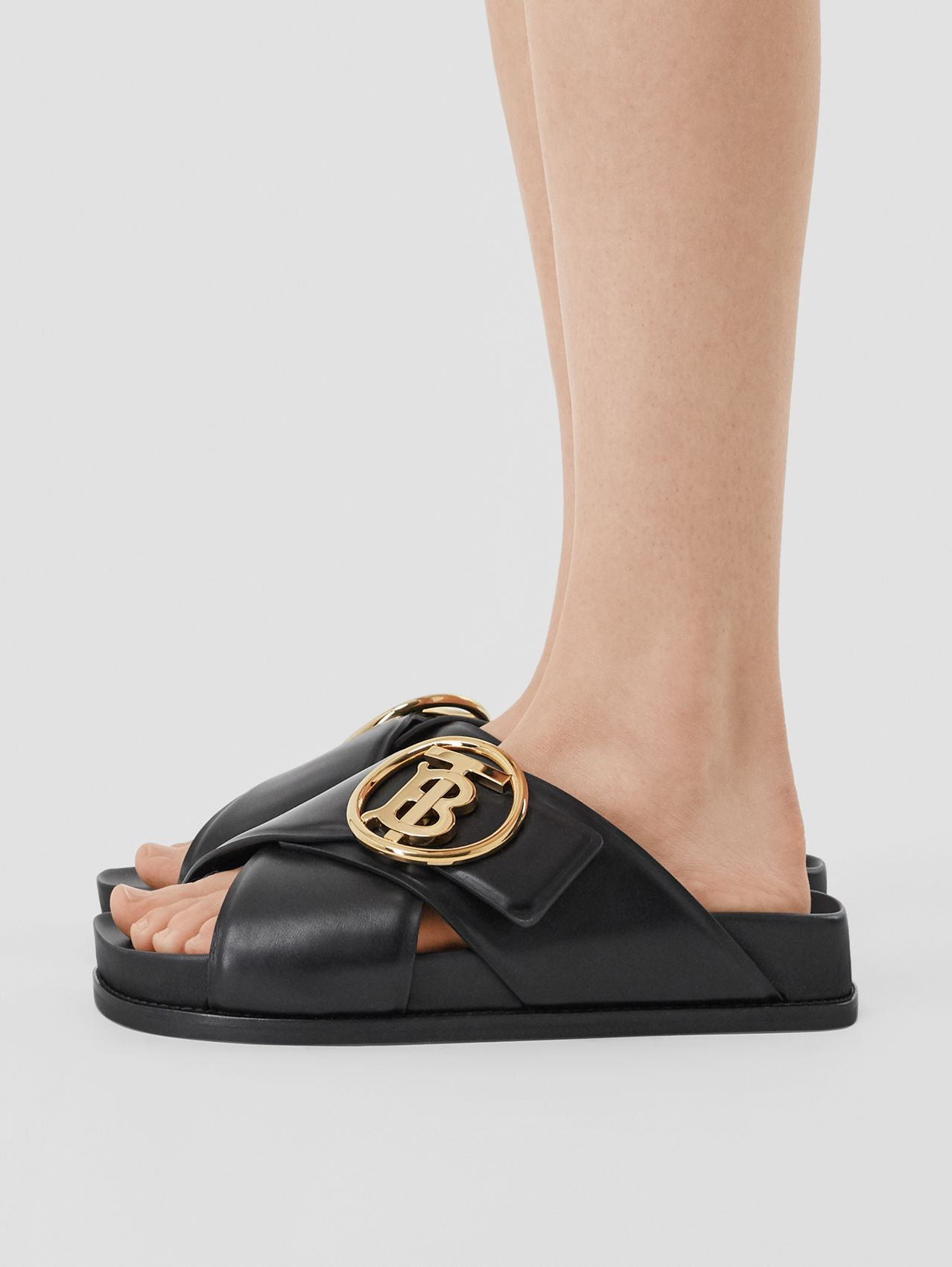 Monogram Motif Leather Slides (Black)