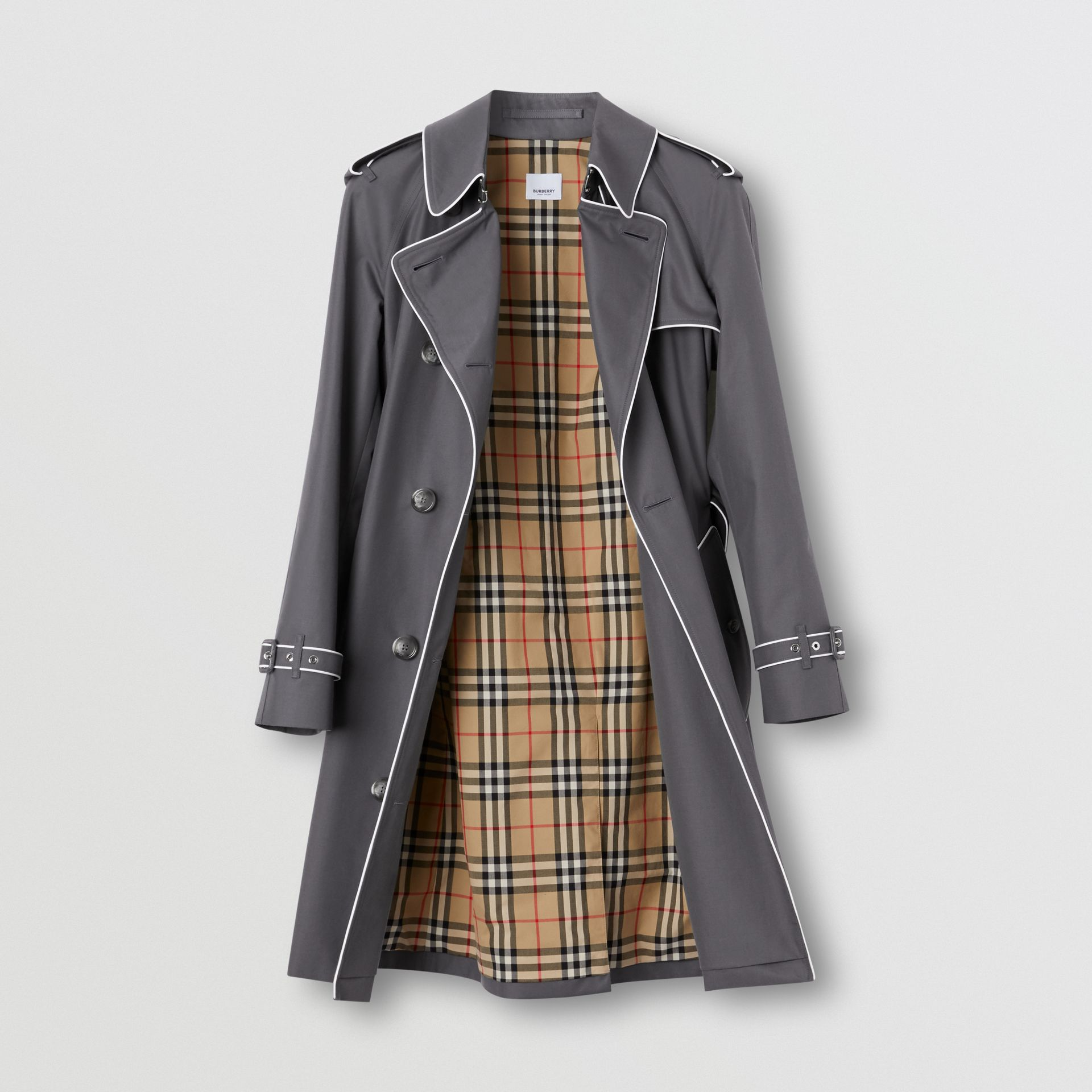 Piped Cotton Gabardine Trench Coat in Mid Grey - Women | Burberry - gallery image 7