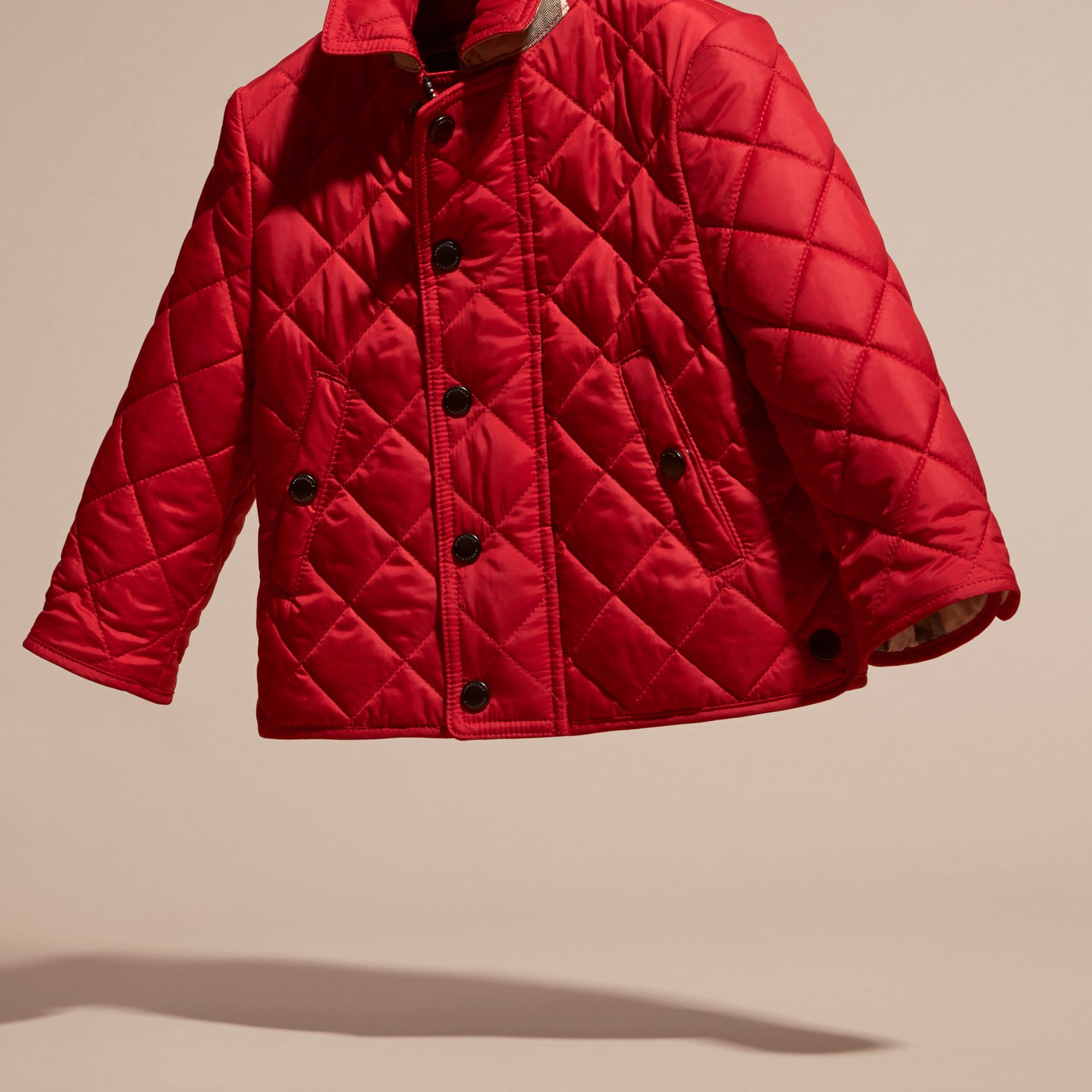 Lightweight Quilted Jacket in Bright Cherry Red | Burberry Australia - gallery image 3