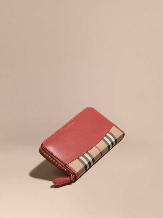 Horseferry Check and Leather Ziparound Wallet Antique Rose