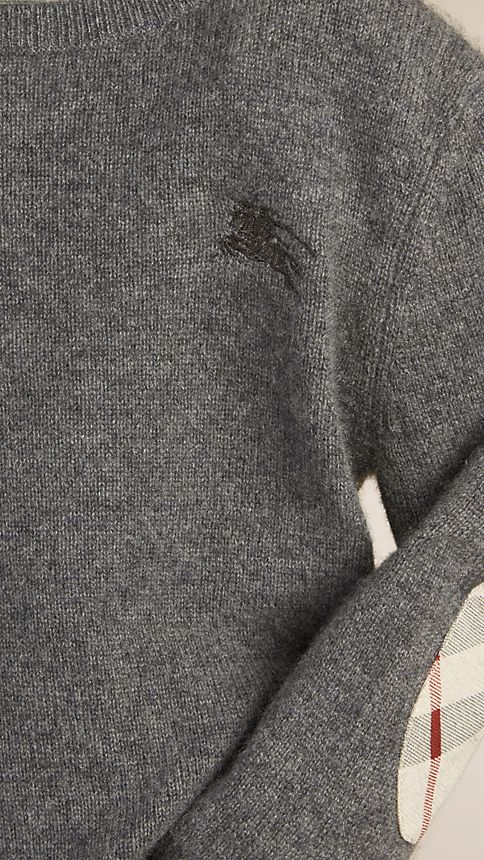 Mid grey melange Check Elbow Patch Cashmere Sweater - Image 3