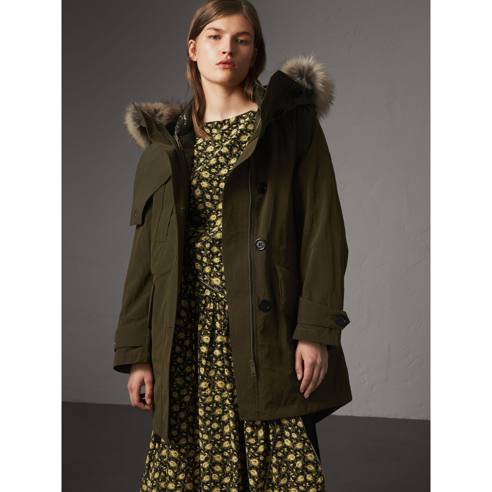 Raccoon Fur and Shearling Trim Parka with Warmer in Dark Olive - Women | Burberry - gallery image 7