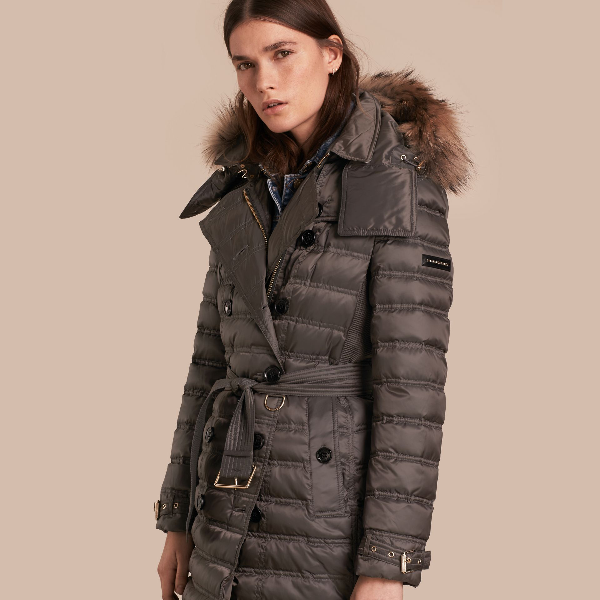 Mid grey Down-Filled Puffer Coat with Fur Trim Mid Grey - gallery image 1