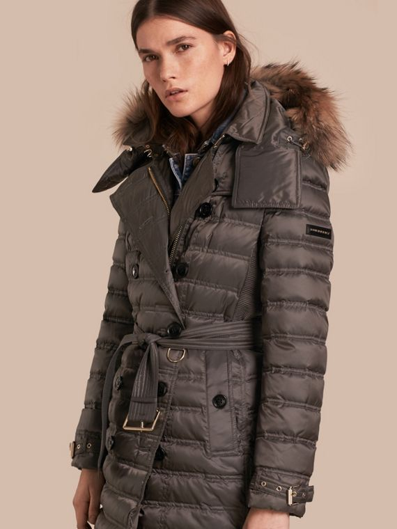 Down-Filled Puffer Coat with Fur Trim Mid Grey