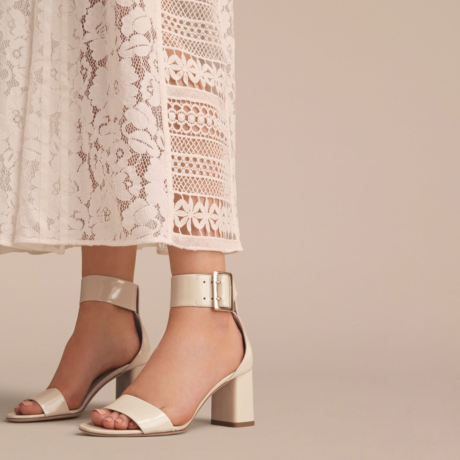 Buckle Detail Patent Leather Sandals in Pale Taupe - Women | Burberry Canada - gallery image 3