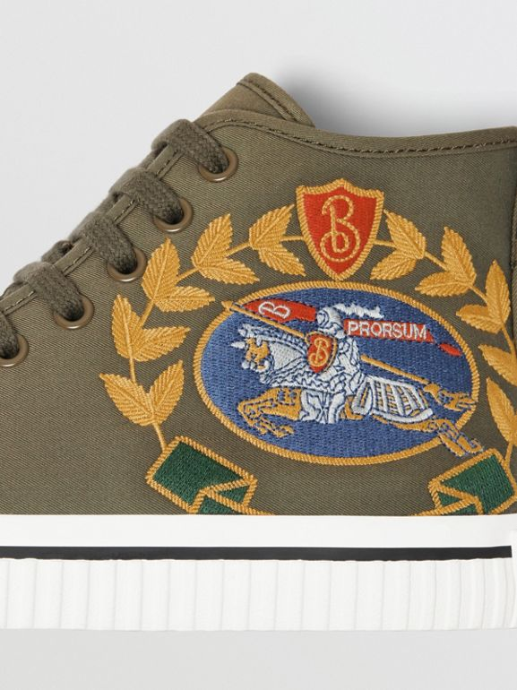 Embroidered Archive Logo High-top Sneakers in Oregano - Women | Burberry Australia - cell image 1