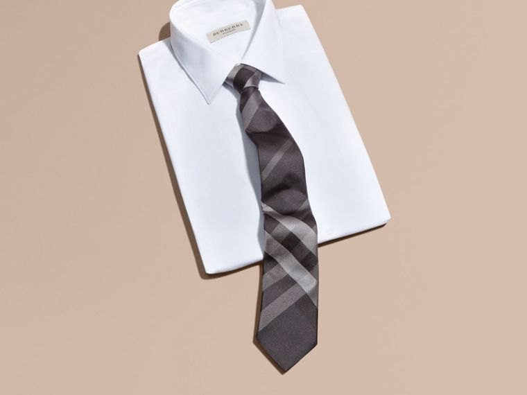 Dark charcoal Modern Cut Beat Check Silk Tie - cell image 2