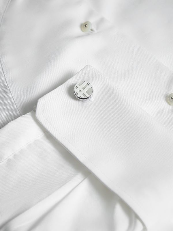 Check-engraved Round Cufflinks in Silver - Men | Burberry Singapore - cell image 2