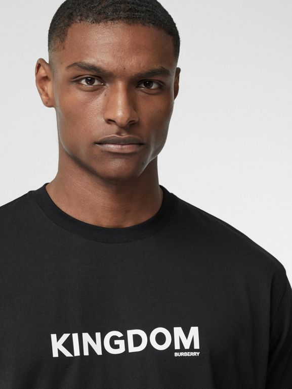 Kingdom Print Cotton T-shirt in Black - Men | Burberry - cell image 1