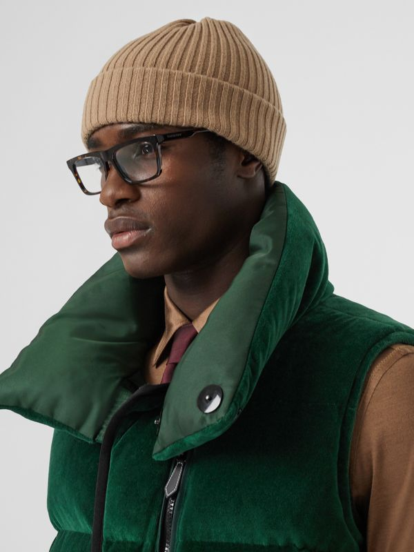 Satin Trim Chenille Puffer Gilet in Pine Green - Men | Burberry - cell image 2