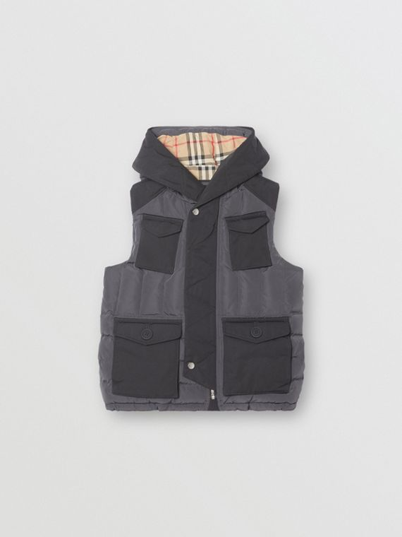 Down-filled Hooded Puffer Gilet in Dark Charcoal