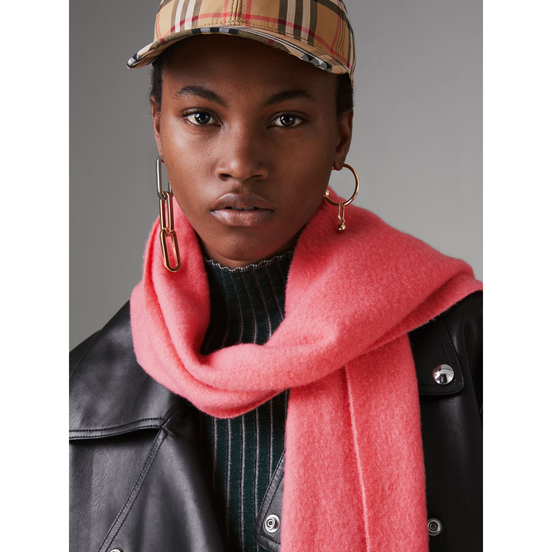 Embroidered Cashmere Fleece Scarf in Coral | Burberry - gallery image 5