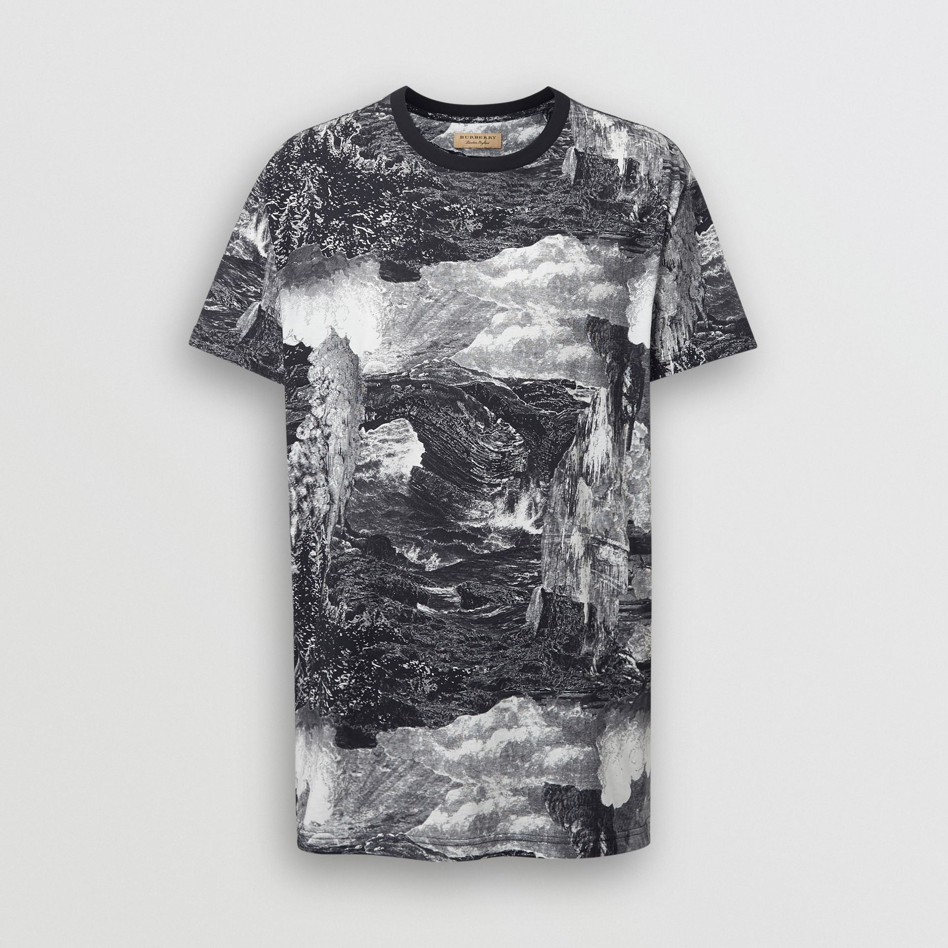 Dreamscape Print Cotton T-shirt in Black - Men | Burberry - gallery image 3