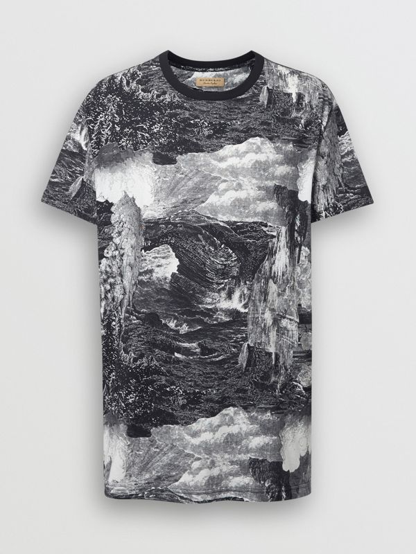 Dreamscape Print Cotton T-shirt in Black - Men | Burberry United Kingdom - cell image 3