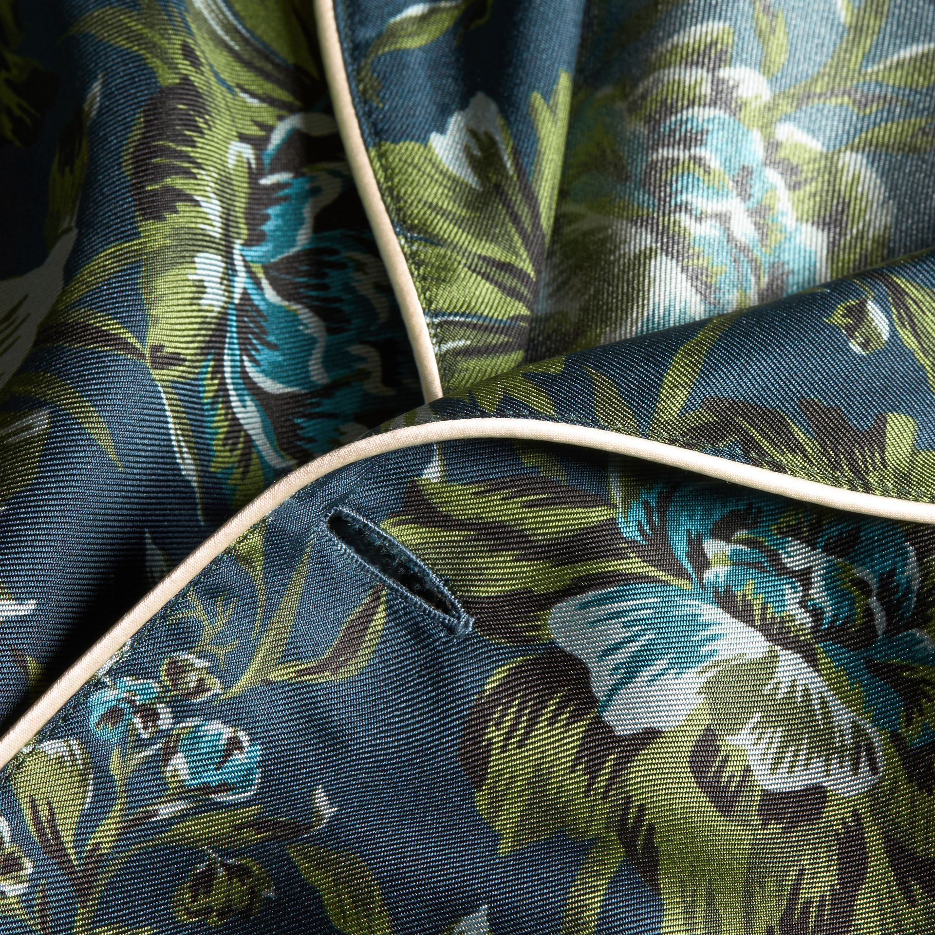 Dark teal green Peony Rose Silk Twill Pyjama-style Shirt - gallery image 2