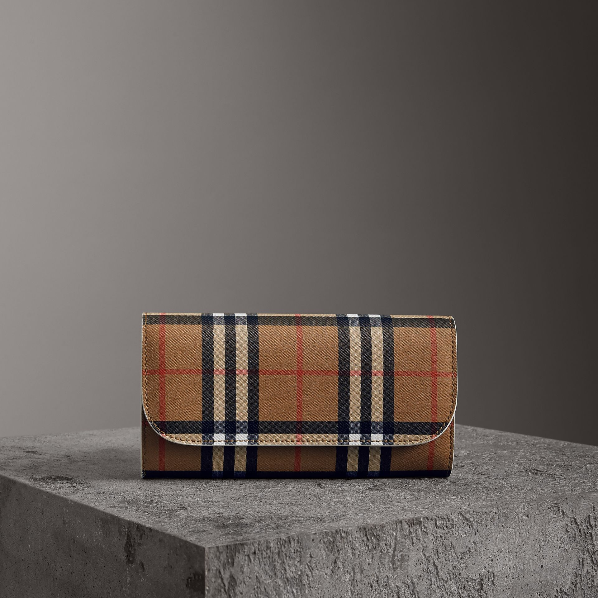 Vintage Check and Leather Continental Wallet in Chalk White - Women | Burberry - gallery image 0