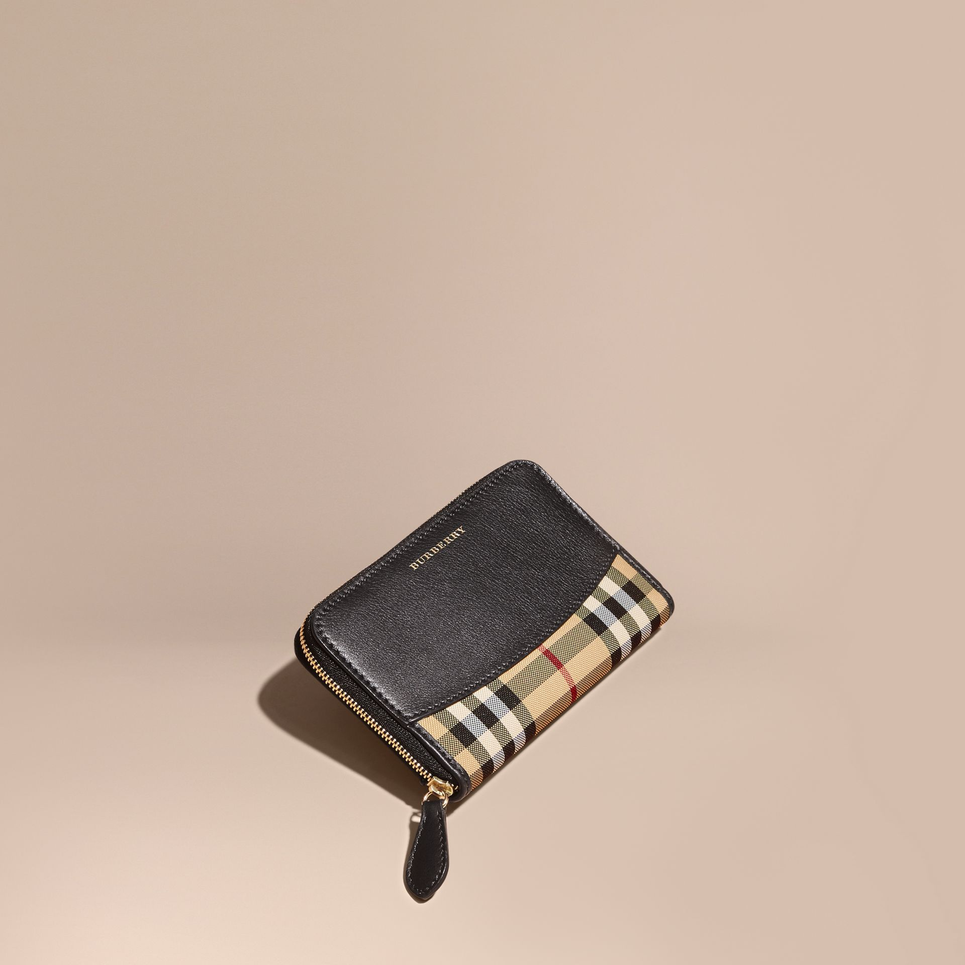 Medium Horseferry Check and Leather Ziparound Wallet - gallery image 1