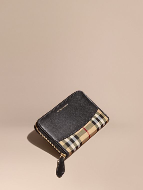 Medium Horseferry Check and Leather Ziparound Wallet