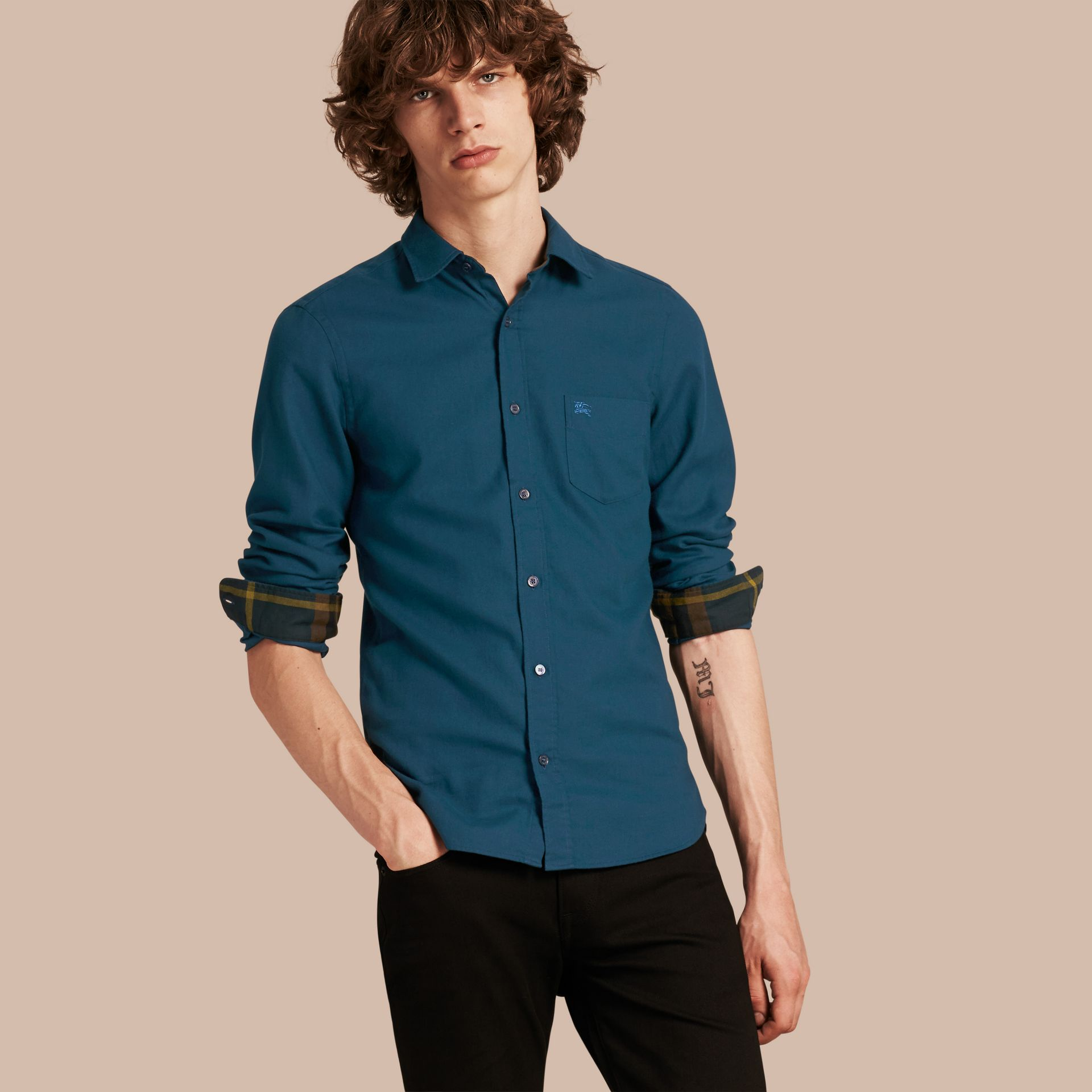 Check Detail Cotton Flannel Shirt in Mineral Blue - gallery image 1