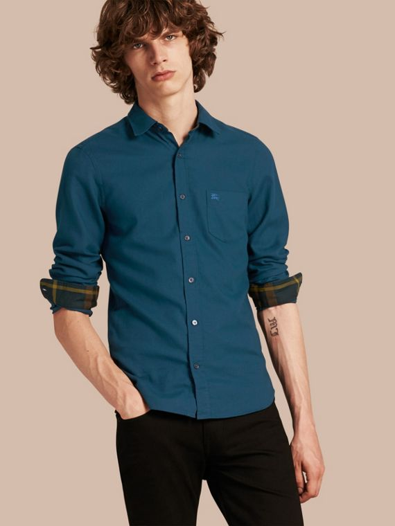 Check Detail Cotton Flannel Shirt Mineral Blue