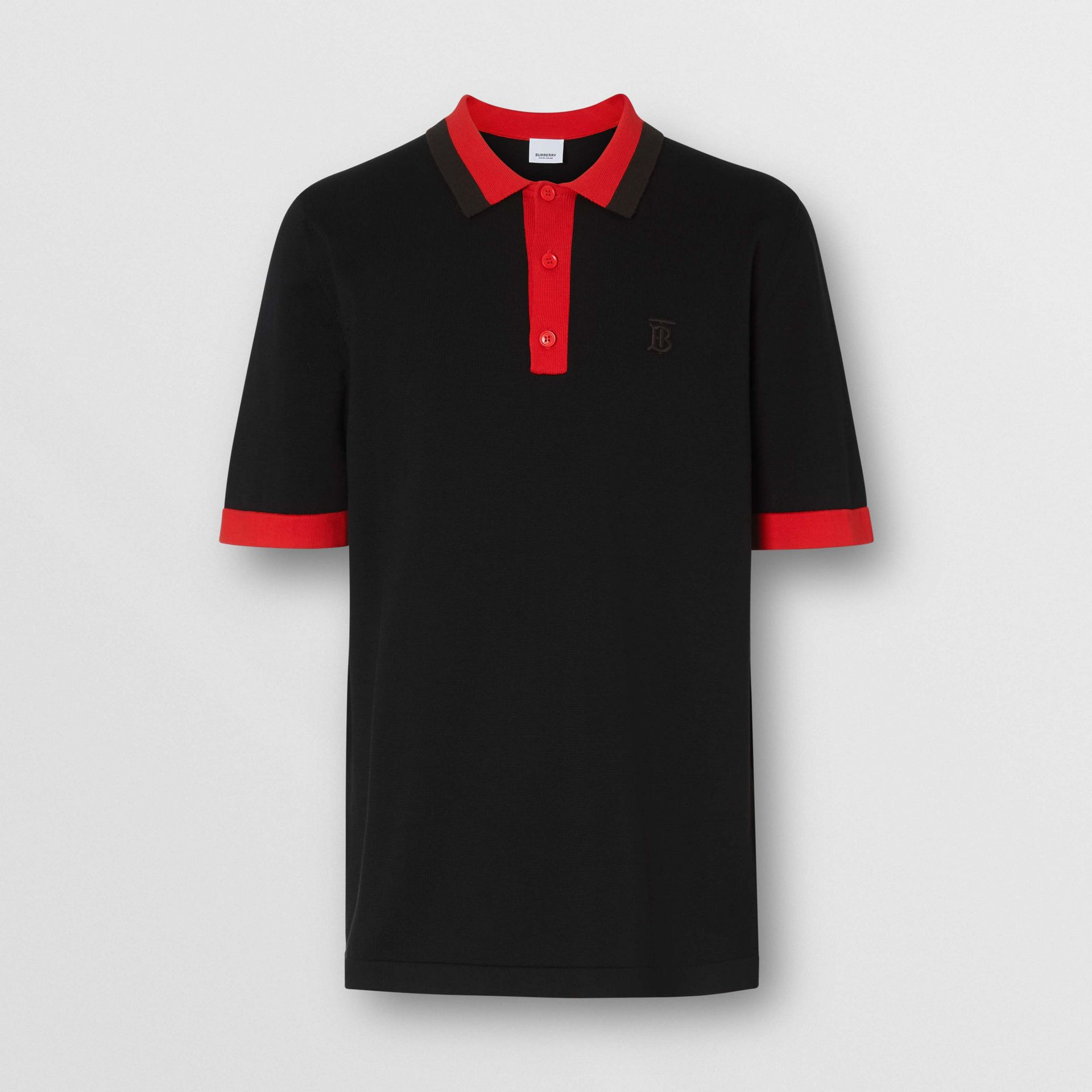 Monogram Motif Tipped Cotton Polo Shirt in Black - Men | Burberry - gallery image 3