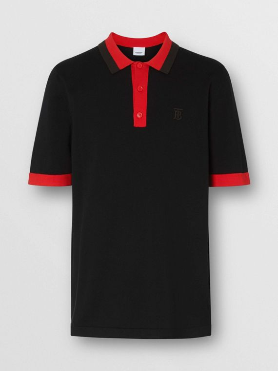 Monogram Motif Tipped Cotton Polo Shirt in Black