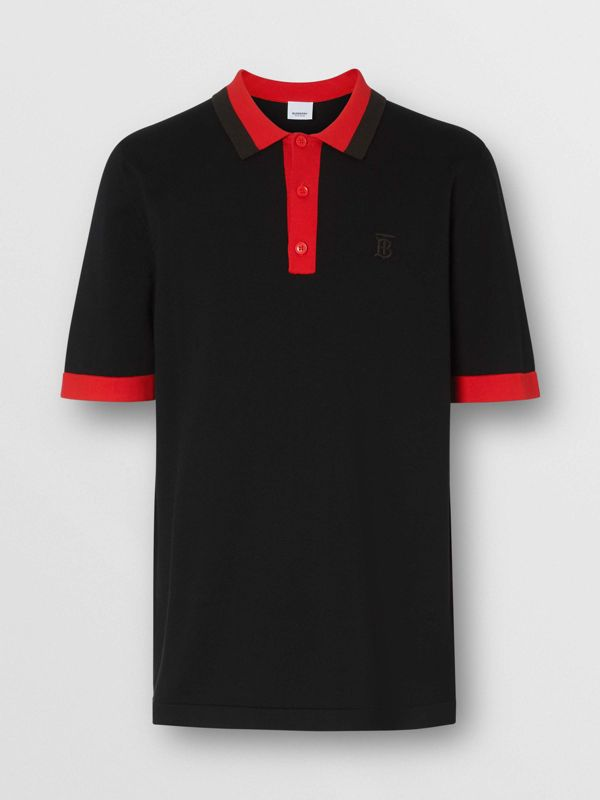 Monogram Motif Tipped Cotton Polo Shirt in Black - Men | Burberry United Kingdom - cell image 3