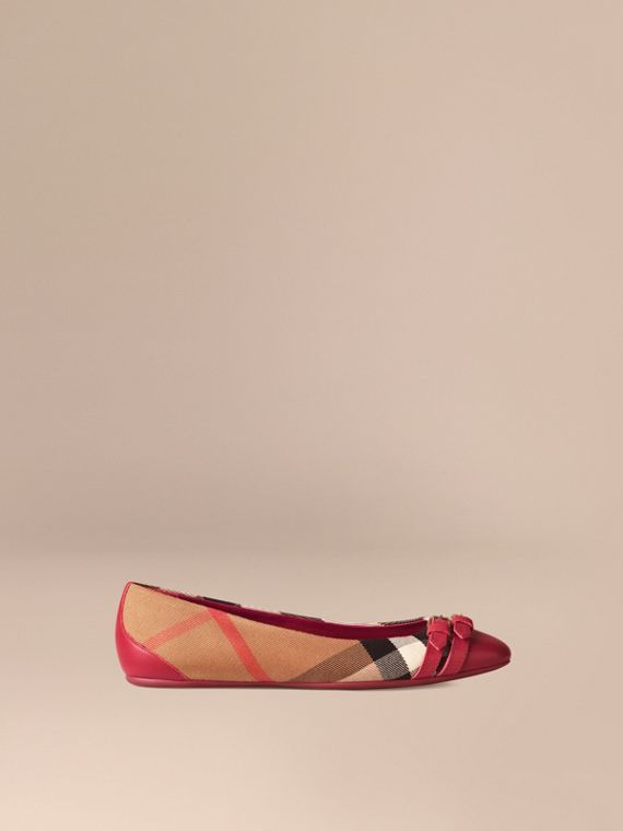 Bridle House Check Ballerinas Russet Red
