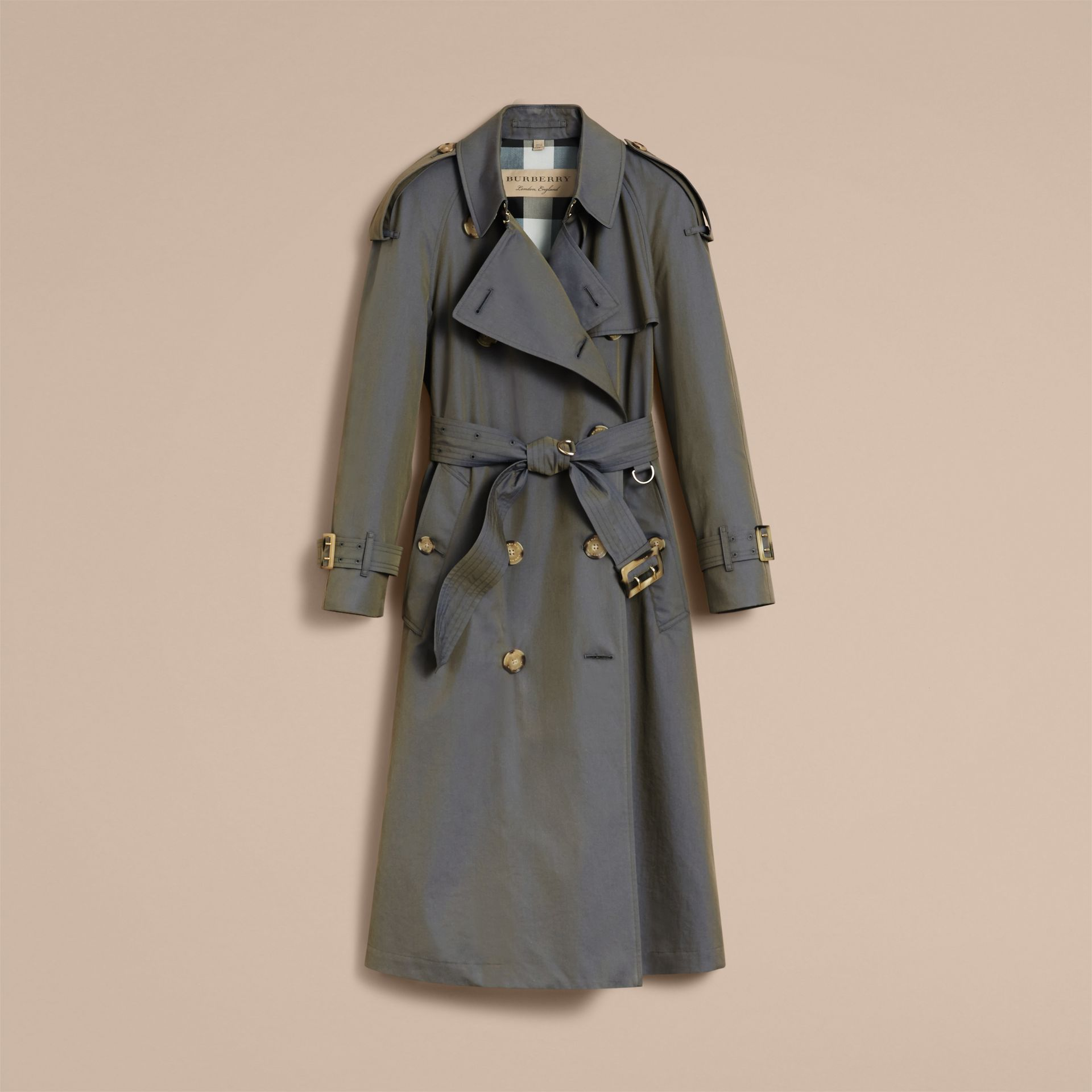 Storm blue Tropical Gabardine Trench Coat - gallery image 4